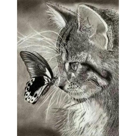 Affordable Best Gift Dream Cat And Butterfly 5D Diamond Painting UK