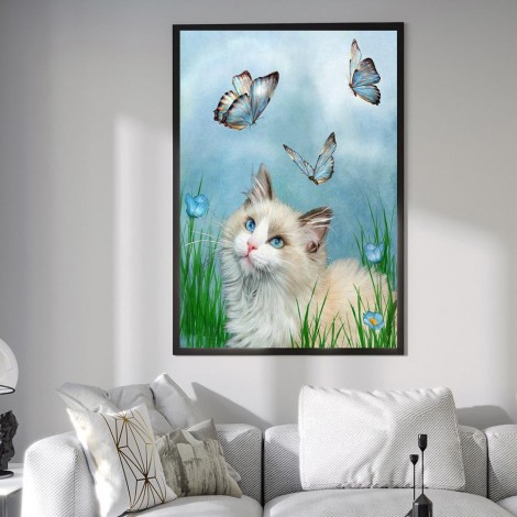 Cat And Butterfly 5D DIY Diamond Painting Kits UK