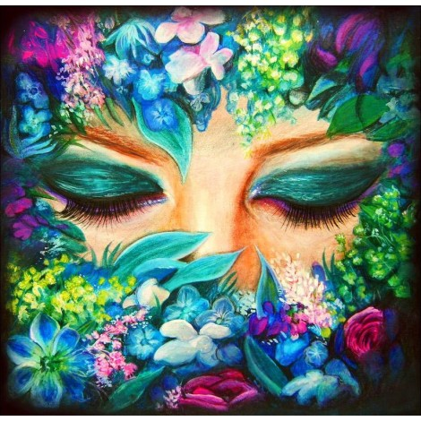 Abstract Flower and Lady 5D DIY Diamond Painting