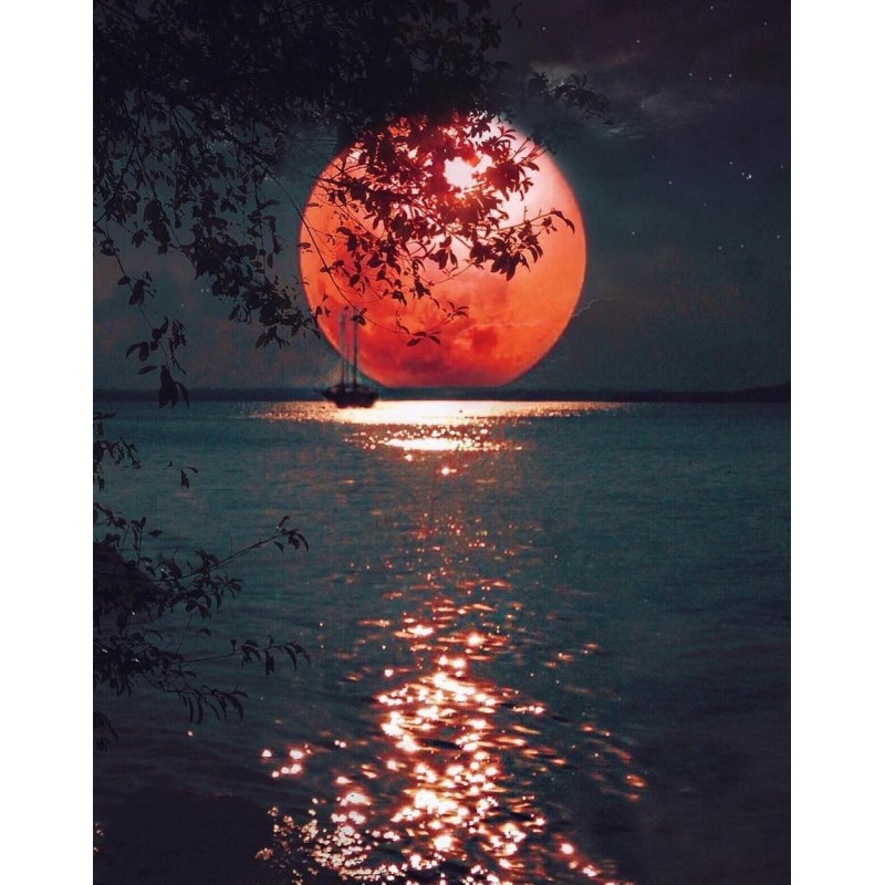 Red Moon And Sea 5D ...