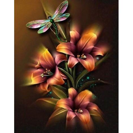 Shining Lily and Dragonfly 5D DIY Diamond Painting